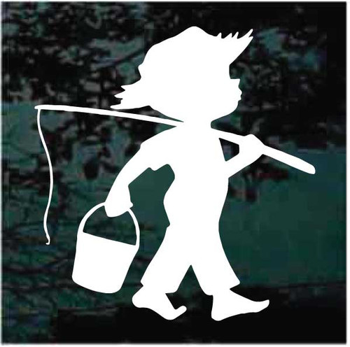 Boy Going Fishing Decals
