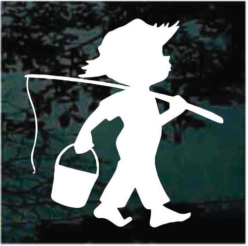 Boy Going Fishing Decals