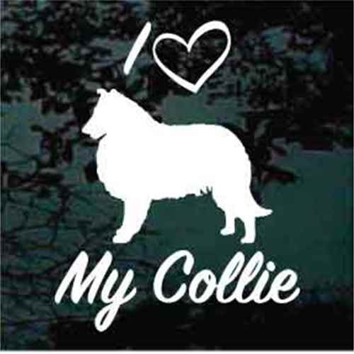 I Heart My Collie Script Window Decal