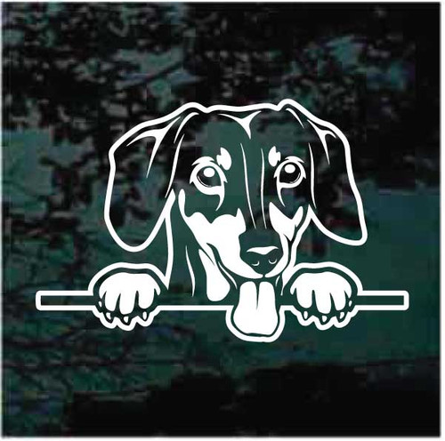 Dachshund Peeking Window Decals