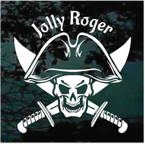 Jolly Roger Pirate Skull With Swords Crossed Decals