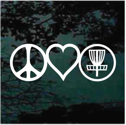 Peace Love Disc Golf Decals