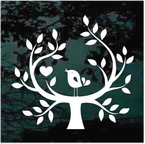 Folk Art Love Bird In Tree  Decals