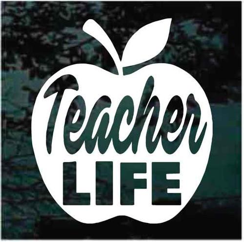 Teacher Life Apple Window Decals