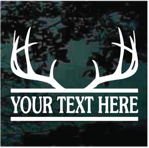 Deer Antlers Name Border Window Decals