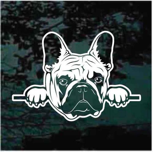 French Bulldog Peeking Window Decals