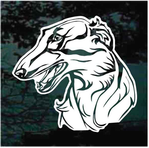 Russian Wolfhound Head Window Decals