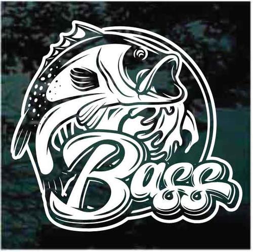 Round Bass Fishing Logo Decals