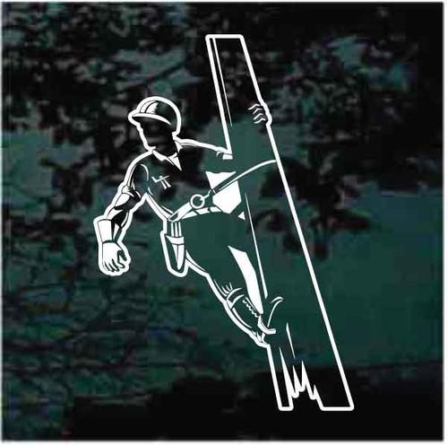 Lineman Climbing Pole Decals