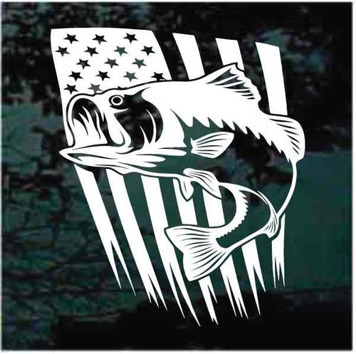 Bass Fishing On USA Flag Window Decals