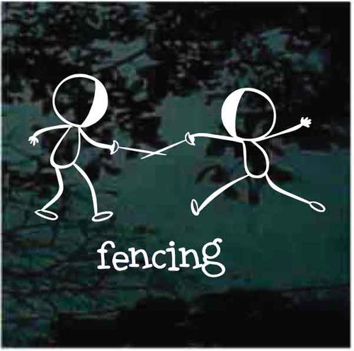 Stick Figures Fencing Decals