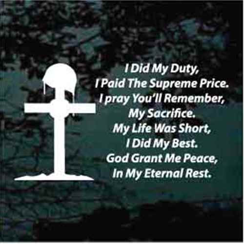 I Did My Duty Soldiers Prayer Window Decal