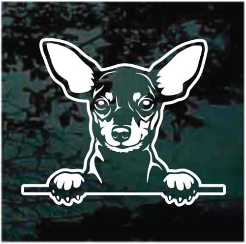 Miniature Pinscher Peeking Doggie In The Window Decals
