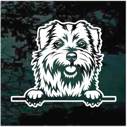Norfolk Terrier Peeking Doggie In The Window Decals