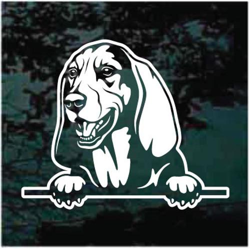 Basset Hound Peeking Doggie In The Window Decals