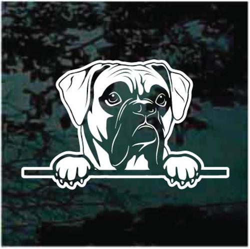 Boxer Dog Peeking Doggie In The Window Decals
