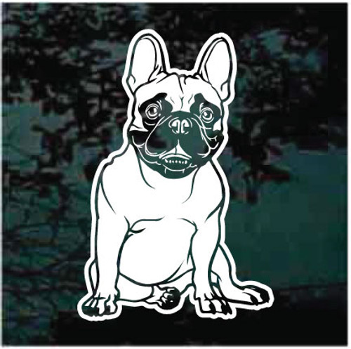 Happy French Bulldog Sitting Window Decals