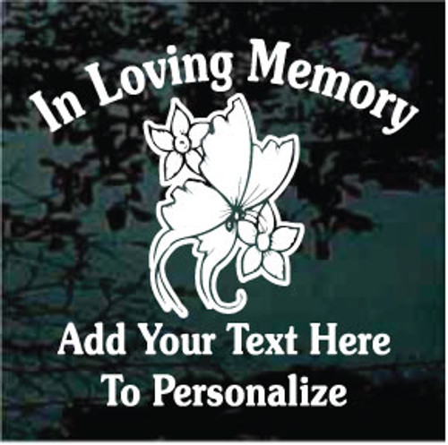 Daffodils Butterfly Memorial Decals