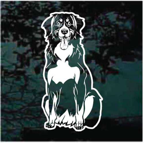 Happy Bernese Mountain Dog Sitting Window Decals