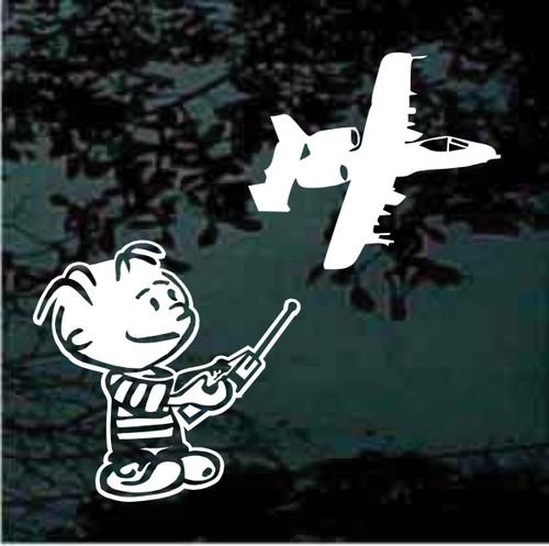 Boy Flying Remote Control A-10 Aircraft Window Decals