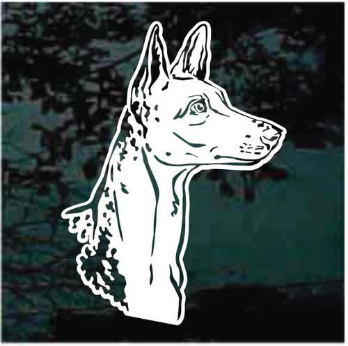 Ibizan Hound Dog Head Window Decals