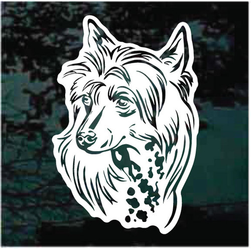 Chinese Crested Dog Head Window Decals