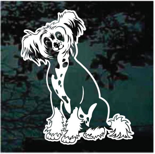 Pretty Chinese Crested Dog Window Decals