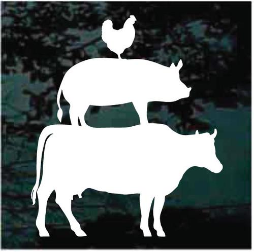Chicken Pig & Cow Window Decals