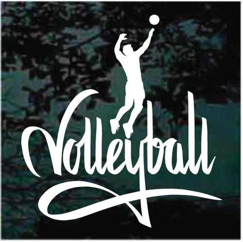 Man Volleyball Player With Lettering Window Decals