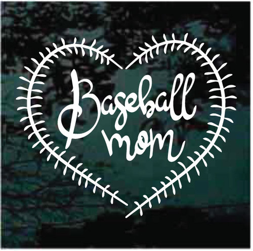 Baseball Mom Heart With Ball Stitching Window Decals
