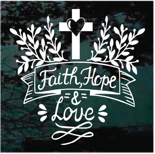 Faith Hope & Love Cross With Heart Christian Window Decals