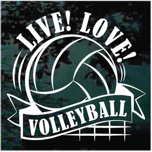 Live Love Volleyball Window Decals