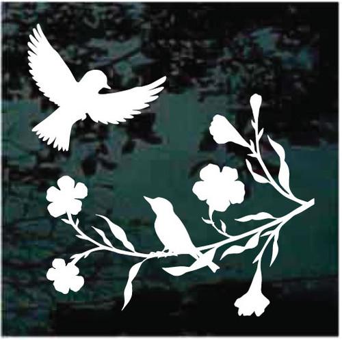 Birds In Flowering Tree Window Decals