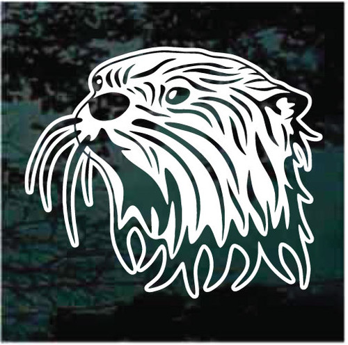 River Otter Head Profile Window Decals