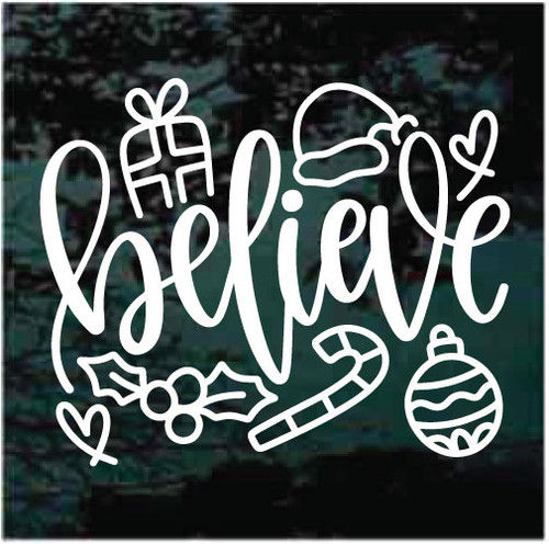 Believe Christmas Ornaments Window Decals