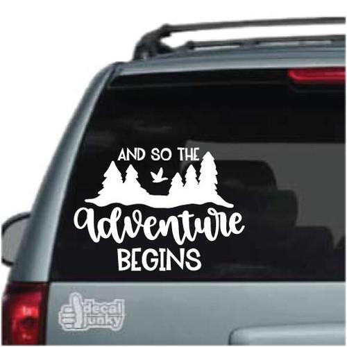 Custom Names /& Date HomeLaptopComputerTruckCar Bumper Sticker Decal Di Cut Decal And So The Adventure Begins