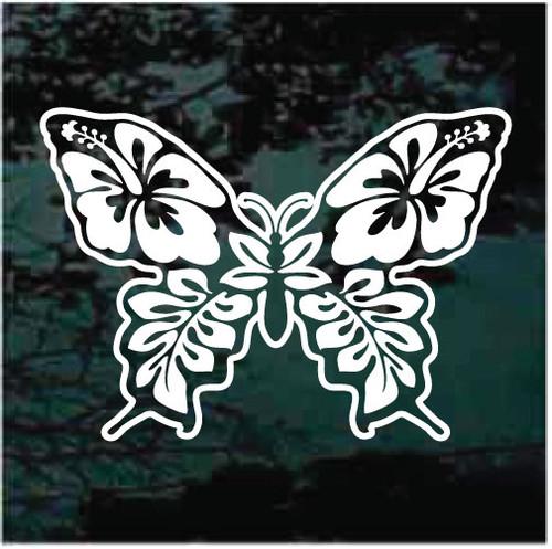 Hibiscus Flower Butterfly Window Decals