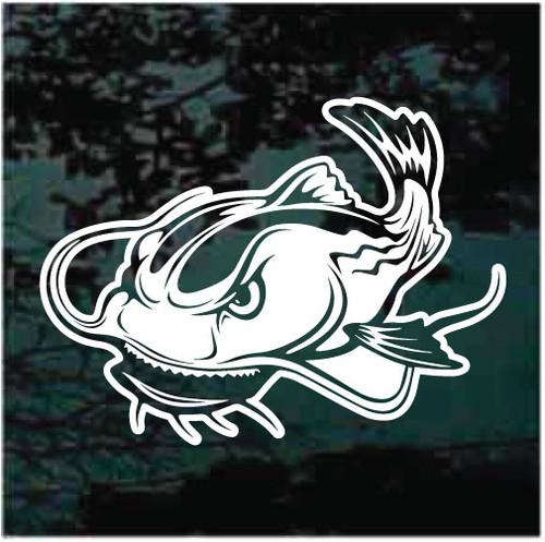 Mean Catfish Cartoon Window Decals