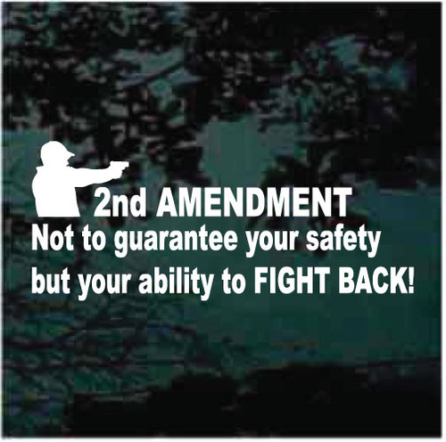 2nd Amendment Not To Guarantee Your Safety But Your Ability To Fight Back Window Decals