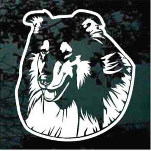 Pretty Collie Head Window Decal