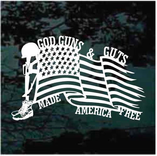 God Guns & Guts Made America Free Flag Window Decals