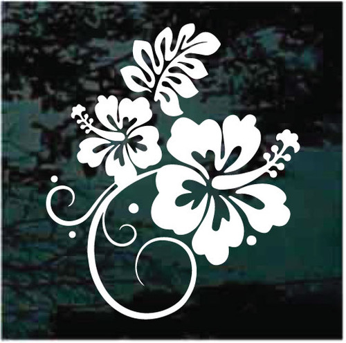Hibiscus Flower Design Window Decals