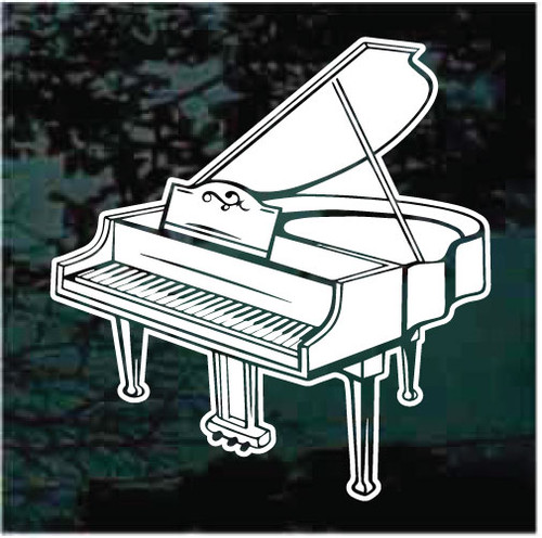Detailed Grand Piano Window Decals