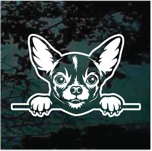 Chihuahua Peeking Doggie In The Window Decals