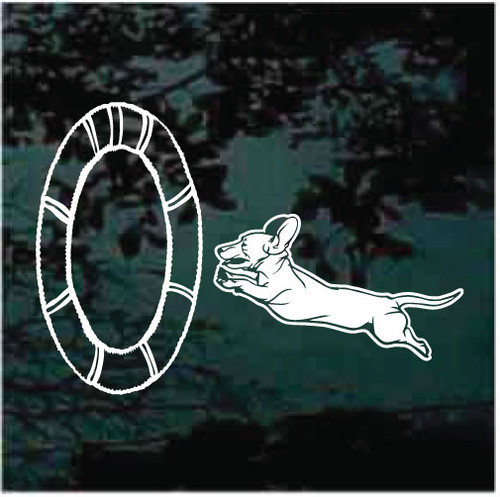 Basset Hound Jump Ring Agility Window Decals