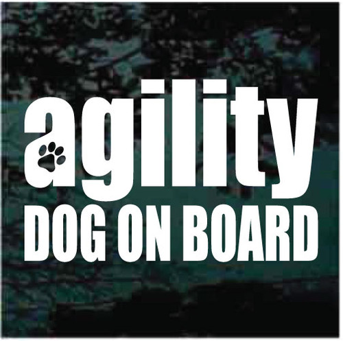 Agility Dog On Board Vinyl Lettering Window Decals
