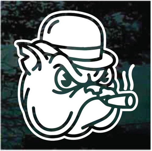 Bulldog Smoking Cigar Window Decals