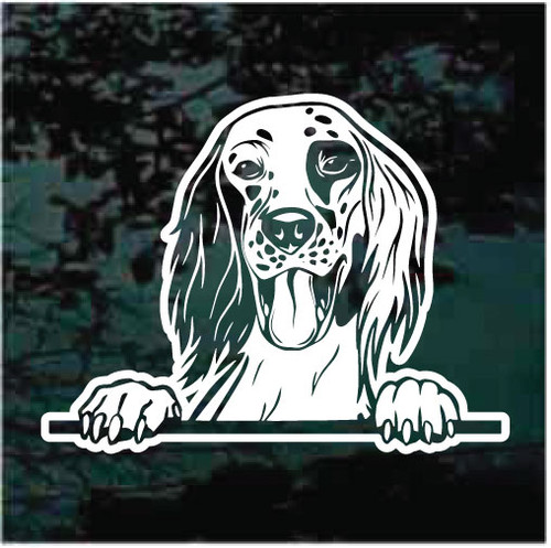 English Setter Peeking Doggie In The Window Decals