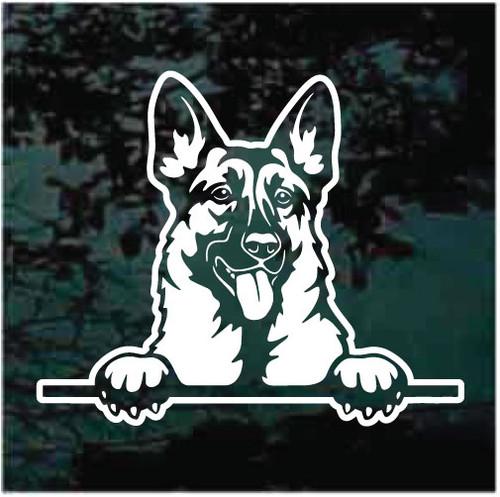Happy German Shepherd Peeking Doggie In The Window Decals