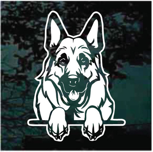 Beautiful German Shepherd Peeking Doggie In The Window Decals